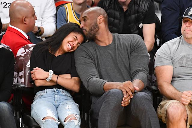 Kobe Bryant and his daughter Gianna Bryant attend a basketball game between the Los Angeles Lakers and the Atlanta Hawks at Staples Center on November 17, 2019 in Los Angeles, California. (Photo by Allen Berezovsky/Getty Images)