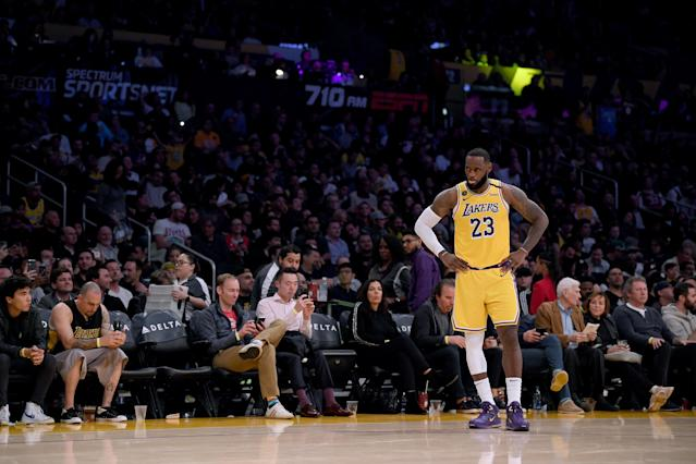 LeBron James says he and the Lakers are ready to resume play when given the OK. (Harry How/Getty Images)
