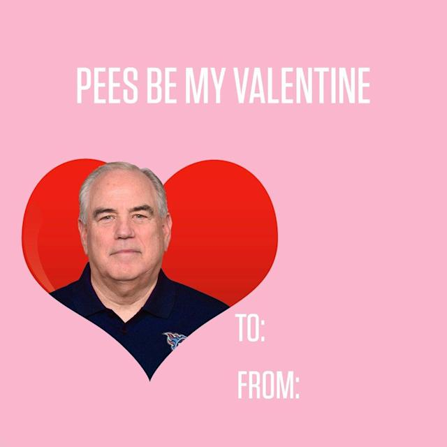 A Valentine with Tennessee defensive coordinator Dean Pees. (Titans Twitter)