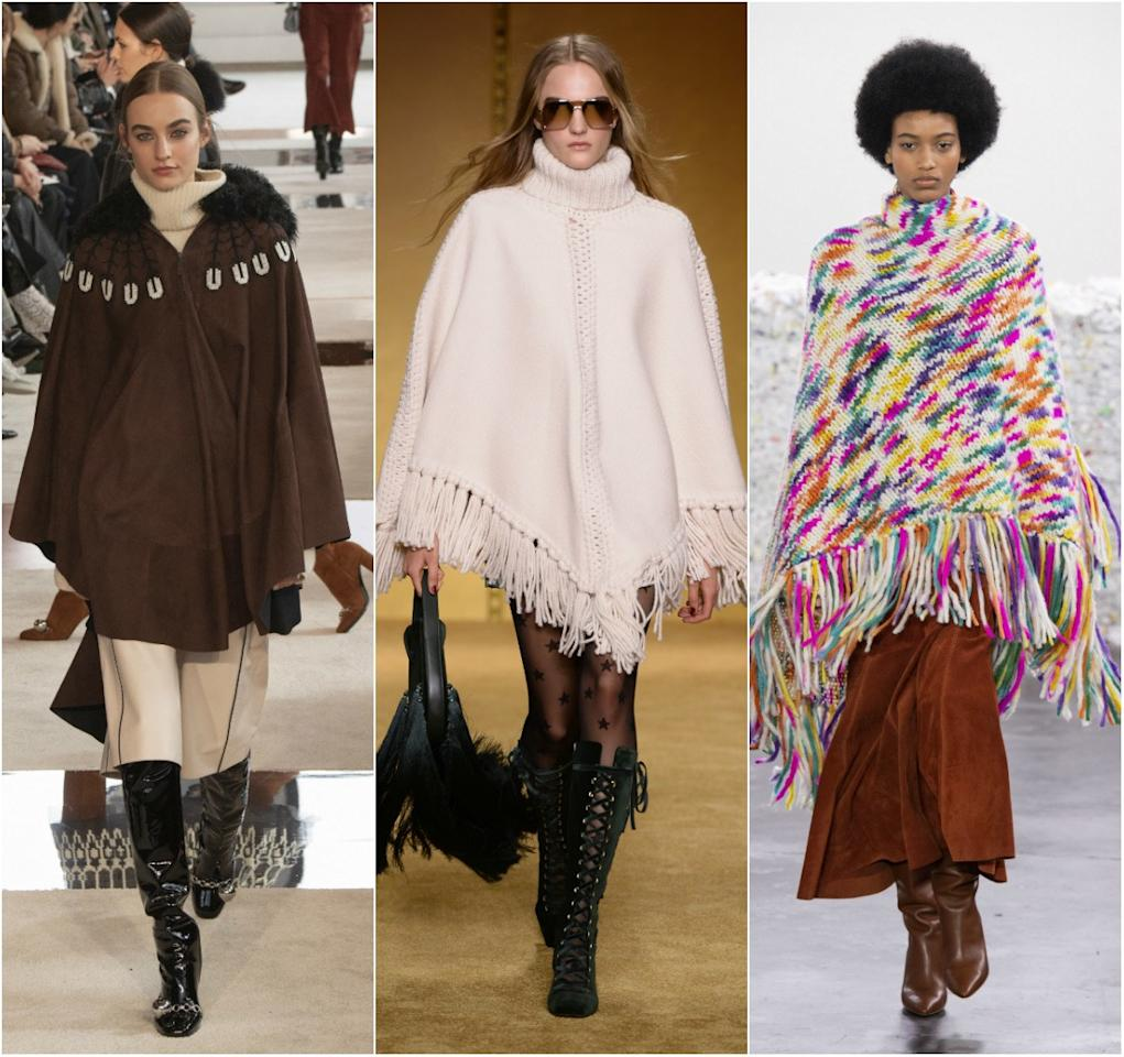 """<p>Yes, they're back. After having a forceful <a href=""""https://www.glamour.com/story/low-rise-jeans-comeback-trend?mbid=synd_yahoo_rss"""" target=""""_blank"""">early-2000s</a> resurgence, the poncho has returned for Fall 2020. On display across several runways including Longchamp, Michael Kors, Zimmermann and Anna Sui, there's an option to suit everyone including cozy knit, wool and velvet versions.</p> <p><em>From left: Longchamp, Zimmermann, Gabriela Hearst</em></p>"""