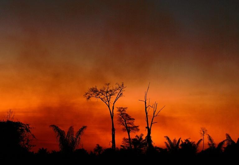 Smoke rises from a burned area in the Xingu Indigenous Park, Mato Grosso state, Brazil, in the Amazon basin, on August 6, 2020