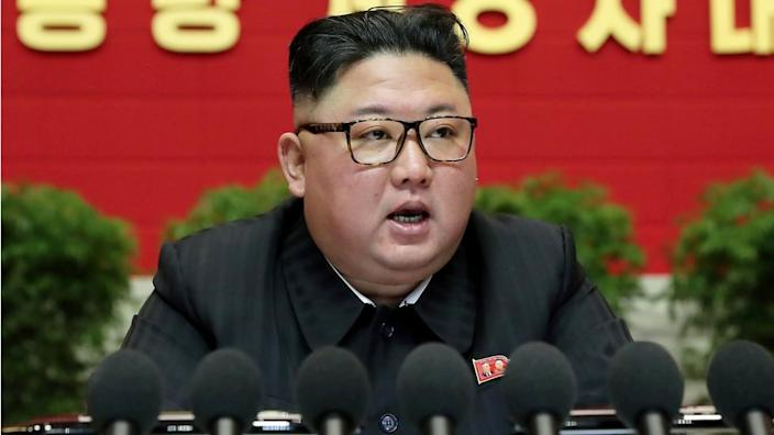 North Korean leader Kim Jong-un speaks during the eighth congress of the Workers' Party in Pyongyang, North Korea