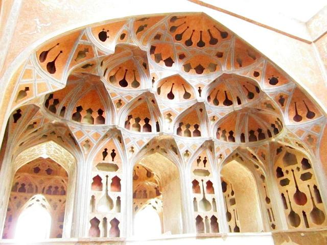 The plaster of paris hollow dome of music hall at Ali Qapu Palace for better accoustics.
