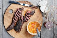 """The sugar in the dry spice mix will help these steaks take on color quickly, so keep a close eye on them. <a href=""""https://www.bonappetit.com/recipe/spiced-and-grilled-steaks-with-citrus-chutney?mbid=synd_yahoo_rss"""" rel=""""nofollow noopener"""" target=""""_blank"""" data-ylk=""""slk:See recipe."""" class=""""link rapid-noclick-resp"""">See recipe.</a>"""