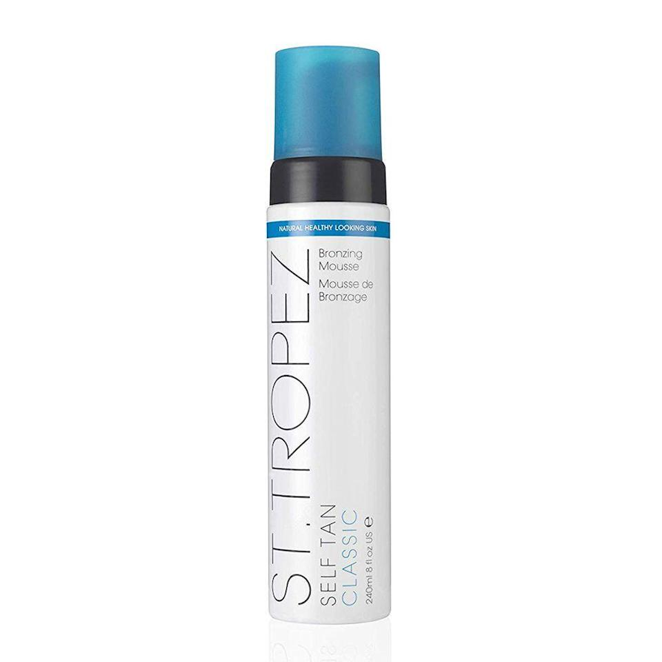 """<p><strong>St. Tropez</strong></p><p>amazon.com</p><p><strong>$31.50</strong></p><p><a href=""""http://www.amazon.com/dp/B003CFB3EC/?tag=syn-yahoo-20&ascsubtag=%5Bartid%7C10058.g.33762832%5Bsrc%7Cyahoo-us"""" rel=""""nofollow noopener"""" target=""""_blank"""" data-ylk=""""slk:SHOP IT"""" class=""""link rapid-noclick-resp"""">SHOP IT</a></p><p>A natural glow is possible in any season with St. Tropez's self tanner. A best-selling Amazon beauty product for its streak-free formula, the brand's classic mousse goes on easy, doesn't smell weird, and lasts for up to 10 days. <br></p>"""
