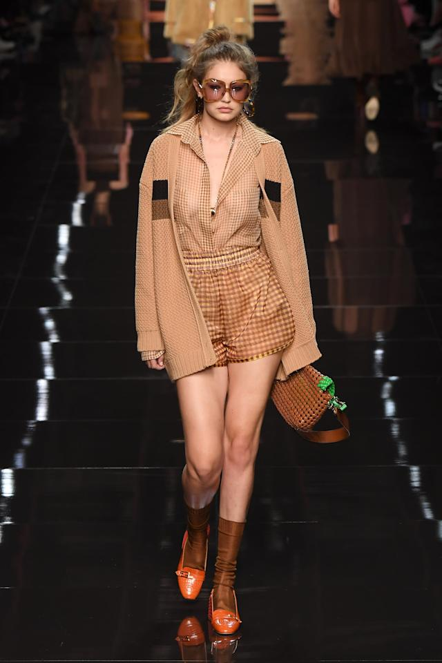 <p>Gigi's sported a camel colored ensemble at the Fendi show in Milan.</p>