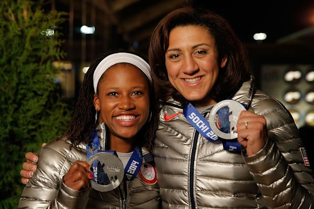 SOCHI, RUSSIA - FEBRUARY 20: U.S. Olympians Lauryn Williams and Elana Meyers visit the USA House in the Olympic Village on February 20, 2014 in Sochi, Russia. (Photo by Joe Scarnici/Getty Images for USOC)