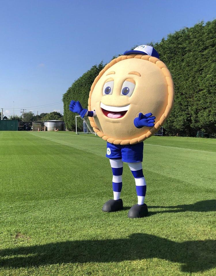 Crusty the Pie: Wigan's new mascot for the 2019/20 - designed by two local children as part of a competition, saying they took their inspiration from the fact everybody in Wigan 'loves pies'. Apparently.