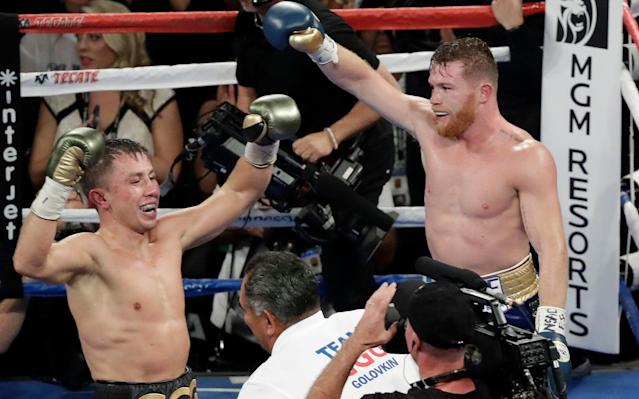 Gennady Golovkin (L) and Canelo Alvarez both seemed to think they'd won on Saturday. (Getty)