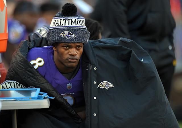 Lamar Jackson's comeback efforts fell short on Sunday as the Ravens lost to the Chargers, 23-17 on Sunday in the wild-card round of the AFC playoffs. (Getty Images)