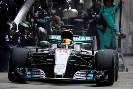 Mercedes' British driver Lewis Hamilton drives his car into the pit lane during the Formula One Chinese Grand Prix in Shanghai April 9, 2017. REUTERS/Andy Wong/Pool