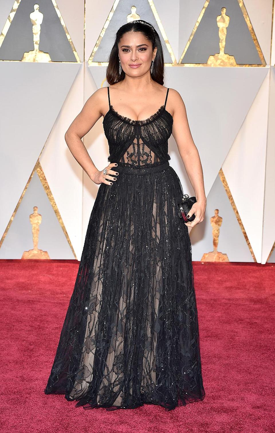 <p>Salma Hayek attends the 89th Annual Academy Awards at Hollywood & Highland Center on Feb. 26, 2017. (Photo by Kevin Mazur/Getty Images) </p>