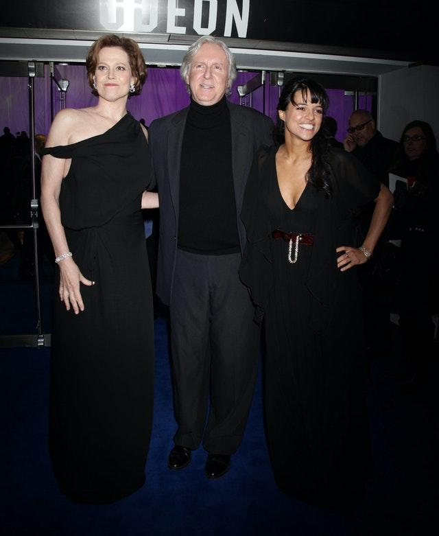 (Left to right) Sigourney Weaver, director James Cameron and Zoe Saldana at the world premiere of Avatar in London, held in December 2009