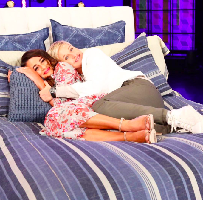 """<p>During an appearance on the <em>Ellen DeGeneres Show</em> on March 16, Lea spoofed her sexy series with the spoof master herself. The actress and comediancozied up — with considerably more clothes on than Michele typically wears — for a snuggle. """"Mario Testino has the 'Towel Series' … so I did my lamer version the 'Bed Series,'"""" she sharedabout the inspiration for her picture series. """"I'm traveling all the time, so I'm in different beds. It started more simple and became more and more naked — and more and more calls to my dad explaining what he may see."""" Despite having to smooth things over with Dad, """"It's become a fun, naked thing.""""(Photo: <a rel=""""nofollow"""" href=""""https://www.instagram.com/p/BRrq76jga6J/?hl=en"""">Instagram</a>) </p>"""