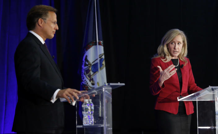Democratic challenger Abigail Spanberger gestures during a debate with Virginia Rep. Dave Brat, a Republican at Germanna Community College in Culpeper, Va., on Oct. 15, 2018. (Photo: Steve Helber/AP)
