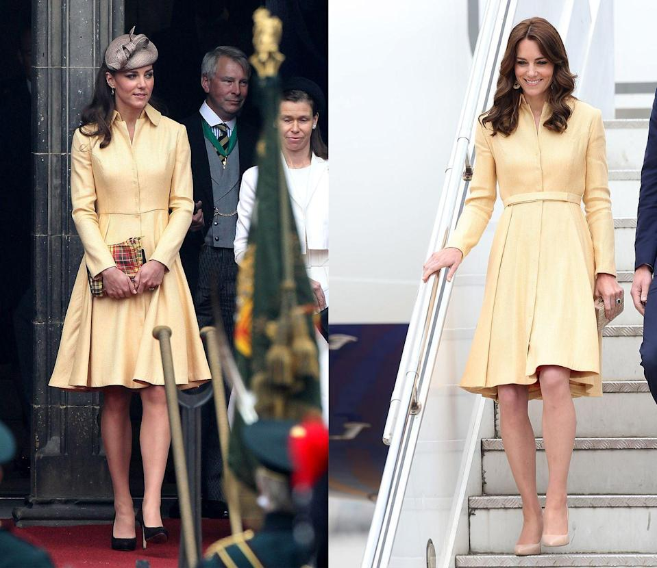 <p>This buttercup yellow Emilia Wickstead dress coat was debuted by Kate at the Order of the Thistle service in Scotland in July 2012. But the Duchess of Cambridge re-accessorized the look with nude pumps for a trip to India in April 2016. </p>