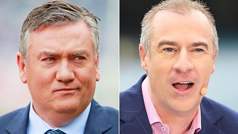 Eddie McGuire and Gerard Whateley are pictured in a 50/50 split image.
