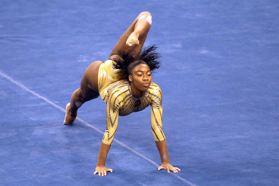 LOS ANGELES, CALIFORNIA - FEBRUARY 10: Chae Campbell of the UCLA Bruins competes on floor exercise during a meet against the BYU Cougars at Pauley Pavilion on February 10, 2021 in Los Angeles, California. (Photo by Katharine Lotze/Getty Images)