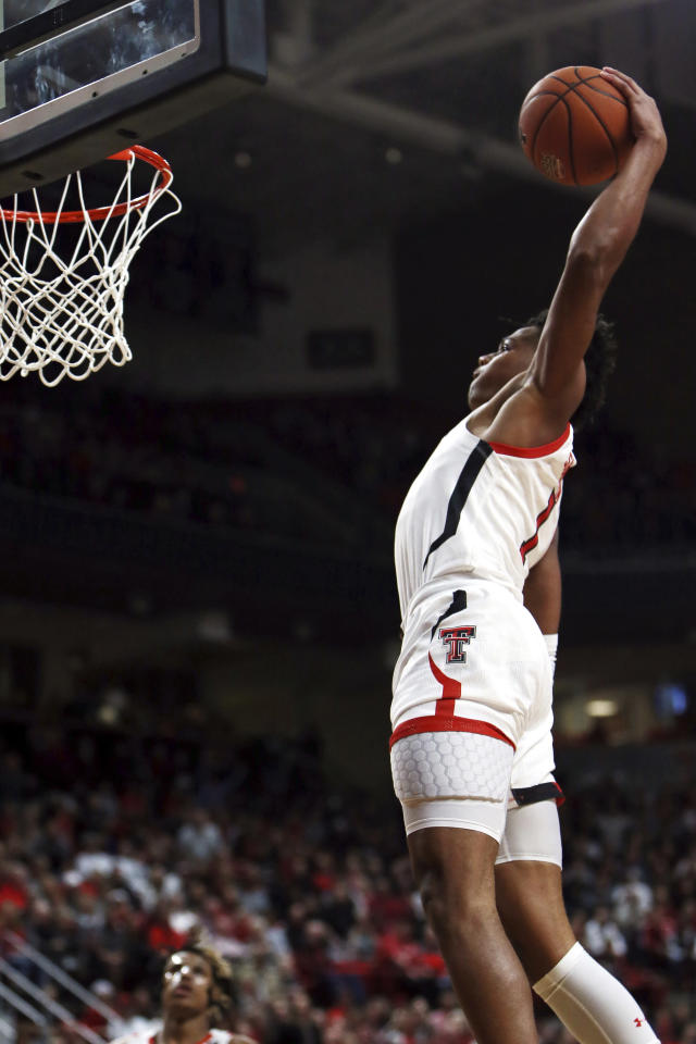 Texas Tech's Terrence Shannon Jr. (1) dunks the ball during the first half of an NCAA college basketball game against Bethune-Cookman, Saturday, Nov. 9, 2019, in Lubbock, Texas. (Sam Grenadier/Lubbock Avalanche-Journal via AP)