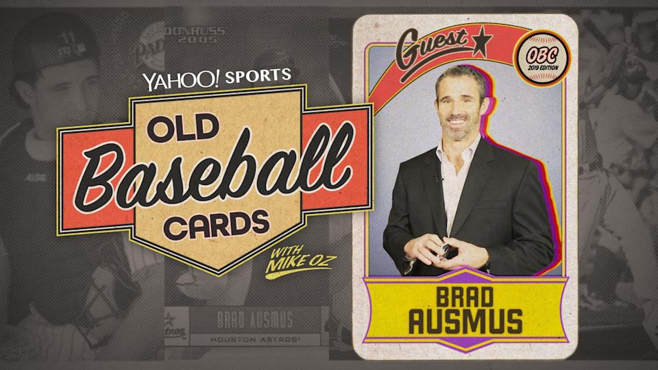 """Angels manager Brad Ausmus opens baseball cards from 1994 and 1998 on """"Old Baseball Cards."""" (Yahoo Sports)"""
