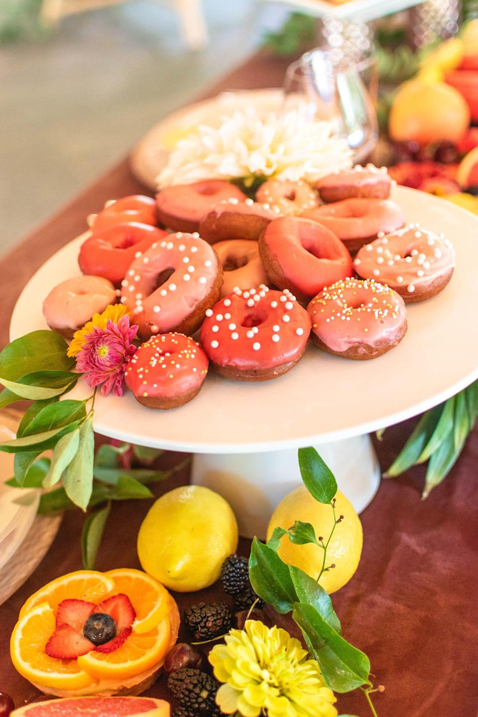 <p>Tell us, is there anything better than brunch? If you host a bridal shower in the morning, all you need is a beautiful breakfast spread (doughnuts and bagels, of course!), mimosas, and tea or coffee. This celebration will feel intimate and relaxing, giving the bride-to-be time to enjoy those closest to her.</p>