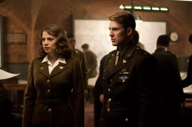 Hayley Atwell as Peggy Carter and Chris Evans as Steve Rogers in <i>Captain America: The First Avenger</i> (Photo: Marvel Studios)