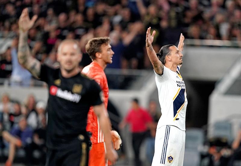 Aug 25, 2019; Los Angeles, CA, USA; LA Galaxy forward Zlatan Ibrahimovic (9) celebrates after scoring a goal against the LAFC in the first half at Banc of California Stadium. Mandatory Credit: Kirby Lee-USA TODAY Sports
