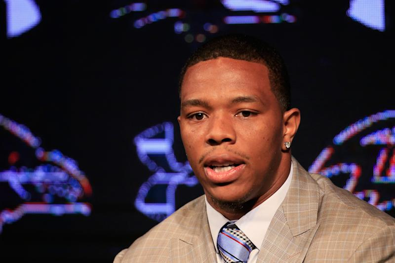 Ray Rice at a news conference on a February domestic violence episode in an Atlantic City casino elevator, at the Baltimore Ravens training center on May 23, 2014