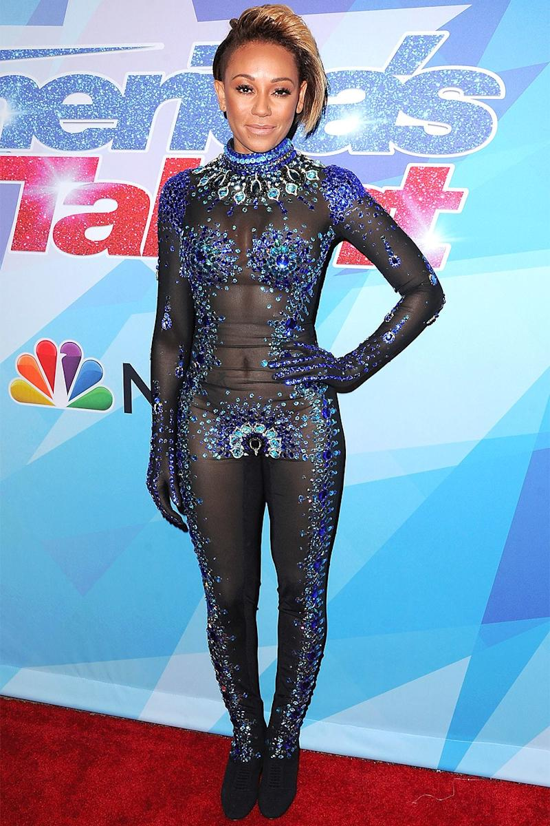 Wearing Rocky Gathercole during a filming of America's Got Talent in August 2017.
