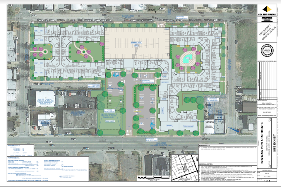 A site plan for the apartments Commonwealth Properties has proposed for 2222 Main Street.
