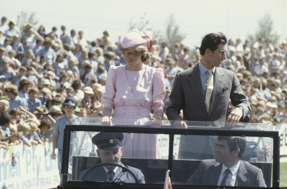Diana, Princess of Wales  (1961 - 1997) and Prince Charles in Newcastle, Australia, March 1983. Diana is wearing a Catherine Walker dress and a hat by John Boyd.  (Photo by Jayne Fincher/Princess Diana Archive/Getty Images)