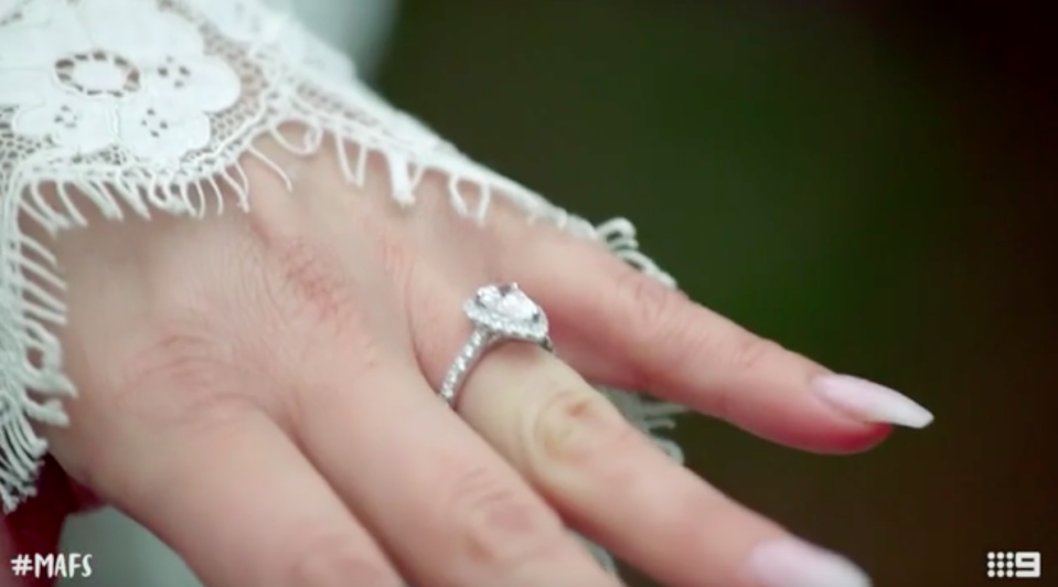 Jules' ring is from Secrets Shhh and isn't made of diamonds. Photo: Channel Nine