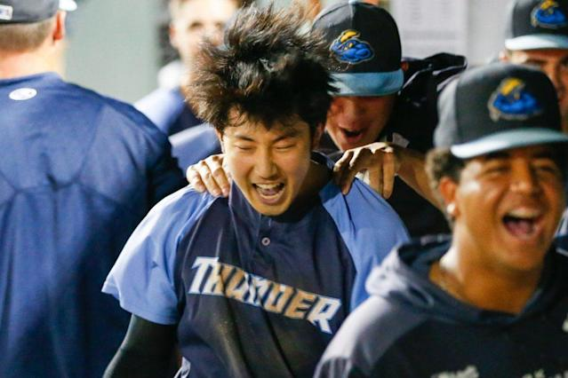 Bowie, MS, Thursday, September 12, 2019: Trenton Thunder second baseman Hoy Jun Park (12) celebrates after scoring the go ahead run during an Eastern League Championship playoff game at Prince George's Stadium in Bowie, MS. (Michael R. Smith/The Prince George's Sentinel).