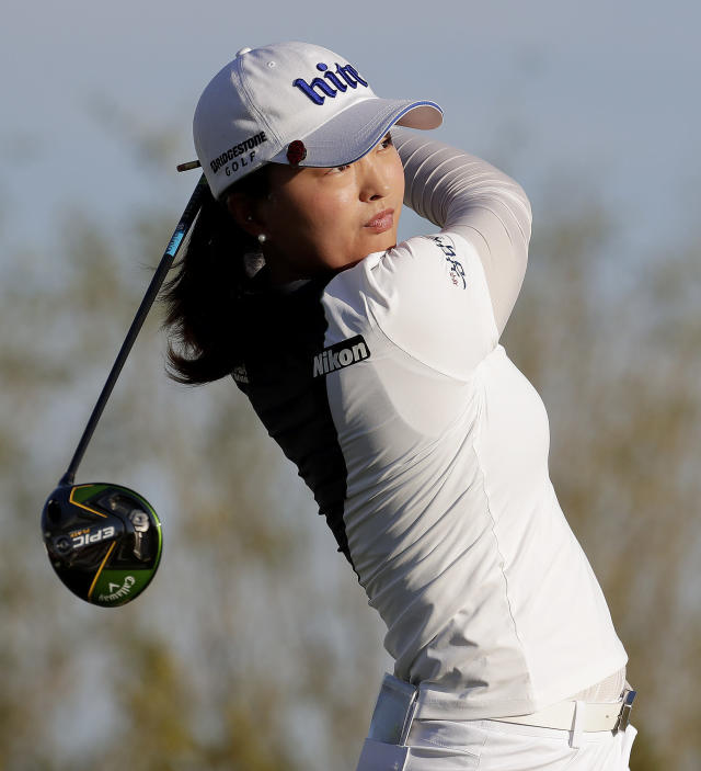 Jin Young Ko hits from the 18th tee during the final round of the Founders Cup LPGA golf tournament, Sunday, March 24, 2019, in Phoenix. Ko finished 22 under par. (AP Photo/Matt York)