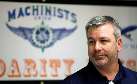 Mike Evans, group leader for the International Association of Machinists and Aerospace Workers, speaks to the media at IAM headquarters after workers rejected union representation at the Boeing South Carolina plant in North Charleston, South Carolina, U.S. February 15, 2017. REUTERS/Randall Hill