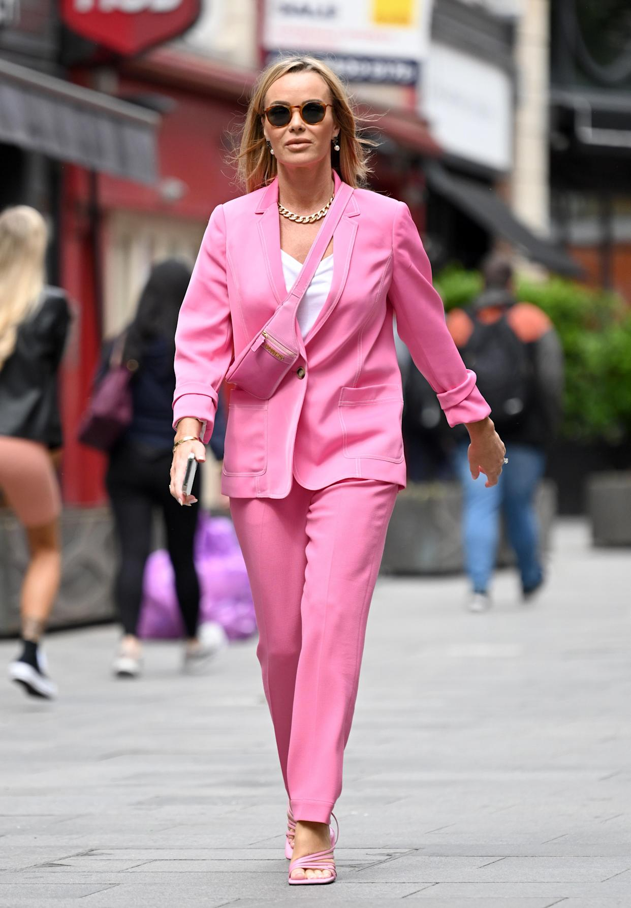 Amanda Holden wore a matching co-ord suit set from Me+Em as she presented her morning segment on Heart Breakfast Radio on 22 June.  (Getty Images)