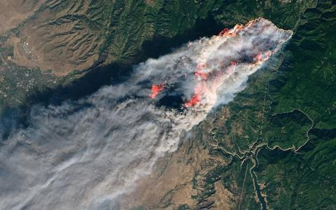 <span>The fire that destroyed Paradise as seen from space</span> <span>Credit: AFP </span>