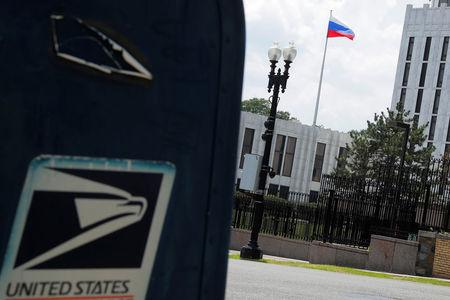 """A mail box with a """"United States"""" label sits across the street from the Embassy of Russia in Washington, U.S., August 6, 2018.     REUTERS/Brian Snyder"""