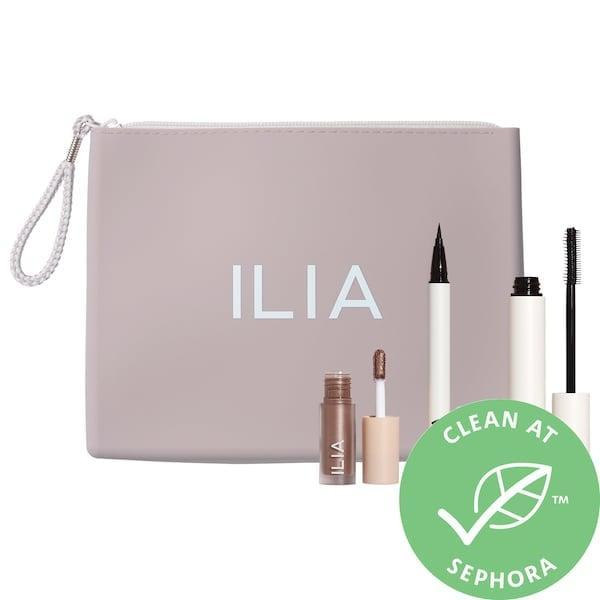 "<p>The little beauty bag in this <span>Ilia Eye Heart Clean Holiday Set</span> ($45) comes pre-packed with a shimmering shadow, eyeliner and <a href=""https://www.popsugar.com/beauty/ilia-beauty-mascara-review-46947376"" class=""link rapid-noclick-resp"" rel=""nofollow noopener"" target=""_blank"" data-ylk=""slk:editor-fave mascara"">editor-fave mascara</a>, too.</p>"