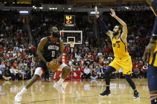 Not only did NBA officials admit the James Harden traveled, but they admitted that Harden duped them. (Getty)