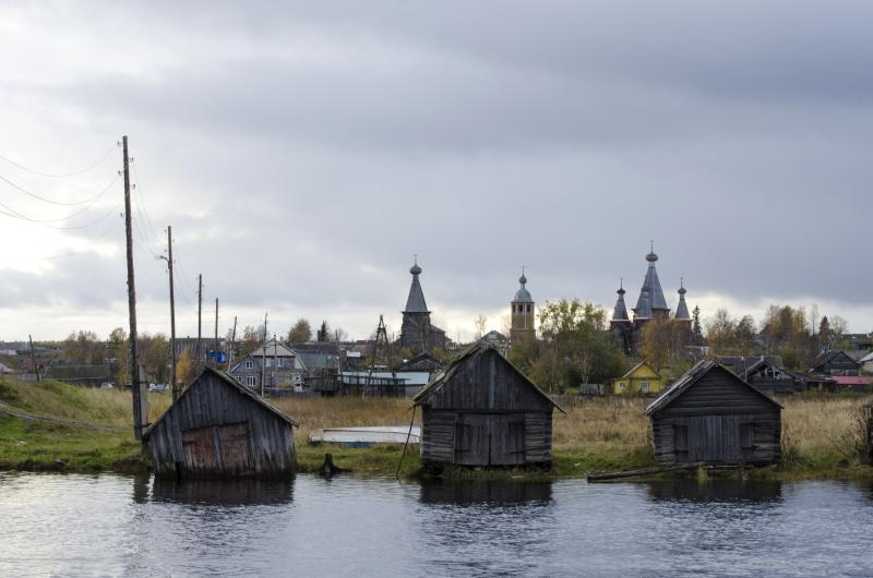 This photo taken on Oct. 7, 2018, shows a village of Nyonoksa, northwestern Russia. The Aug. 8, 2019, explosion of a rocket engine at the Russian navy's testing range just outside Nyonoksa led to a brief spike in radiation levels and raised new questions about prospective Russian weapons. (AP Photo/Sergei Yakovlev)
