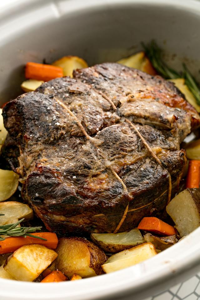"""<p>Set it and forget it.</p><p>Get the recipe from <a rel=""""nofollow"""" href=""""http://www.delish.com/cooking/recipe-ideas/recipes/a56362/best-crock-pot-roast-beef-recipe/"""">Delish</a>.</p><p><strong><em>BUY NOW: Crock-Pot, $24, <a rel=""""nofollow"""" href=""""https://www.amazon.com/Crock-Pot-SCCPVL600S-6-Quart-Portable-Stainless/dp/B003HF6PUO/ref=sr_1_2_sspa?tag=syndication-20&s=home-garden&ie=UTF8&qid=1509126822&sr=1-2-spons&keywords=crock+pot&psc=1&&ascsubtag=[artid"""">amazon.com</a>.</em></strong></p>"""