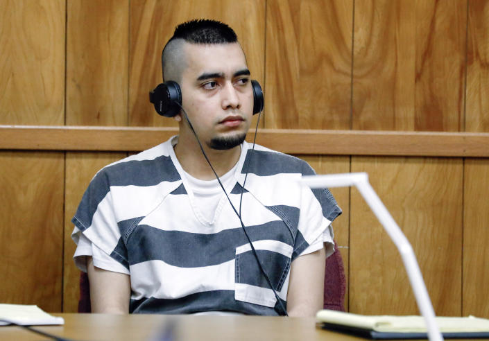 FILE - In this July 15, 2021, file photo, Cristhian Bahena Rivera appears during a hearing at the Poweshiek County Courthouse in Montezuma, Iowa. Bahena Rivera was convicted of killing University of Iowa student Mollie Tibbetts in 2018. The lead investigator in the death, Division of Criminal Investigation agent Trent Vileta expressed confidence Tuesday, July 27, 2021, that the right man was convicted, rejecting defense claims that her abduction could be tied to other local criminal suspects. (Jim Slosiarek/The Gazette, Pool, File)