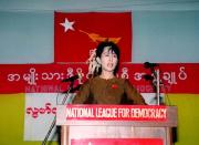 FILE PHOTO: Burmese opposition leader Aung San Suu Kyi speaks during 49th Independence Day celebrations in Rangoon