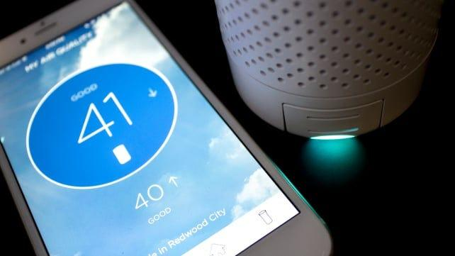 The Wynd air purifier has a sensor and a corresponding app that reads air quality.
