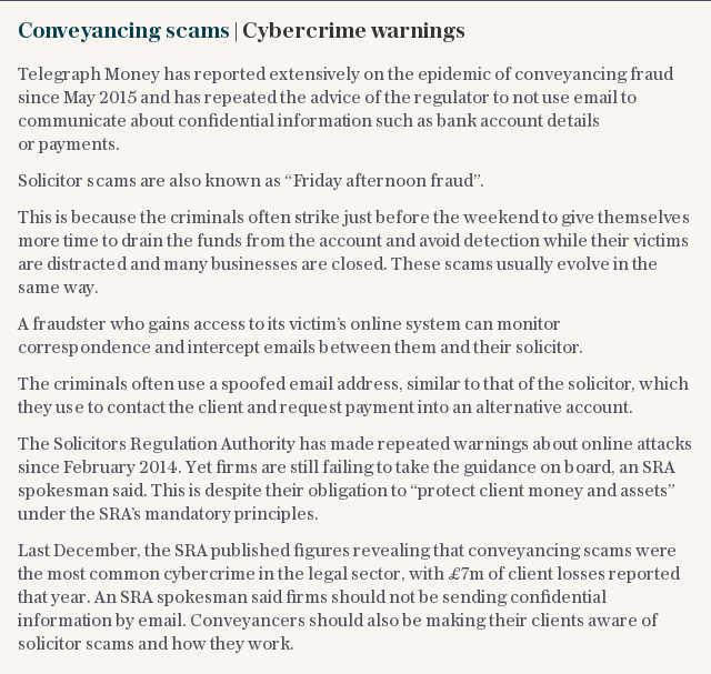 Conveyancing scams | Cybercrime warnings