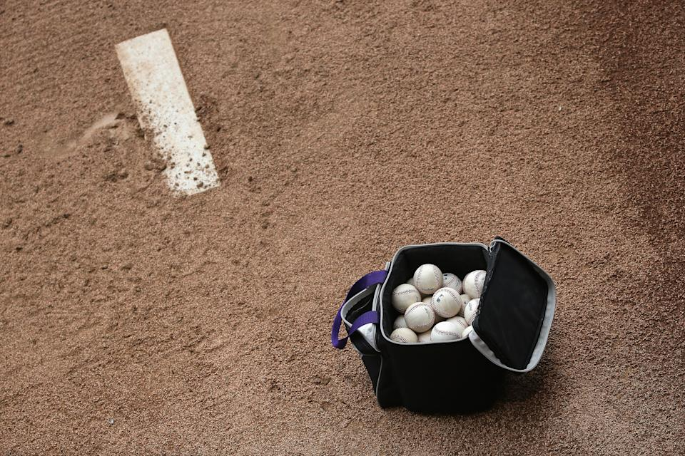 DENVER, CO - APRIL 25:  A bag of baseballs sits on the mound in the bullpen as the Pittsburgh Pirates prepare to face the Colorado Rockies at Coors Field on April 25, 2016 in Denver, Colorado. (Photo by Doug Pensinger/Getty Images)