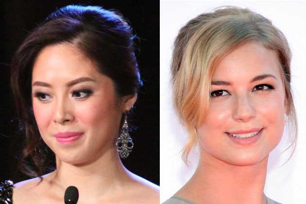 Grace Lee and Emily VanCamp keeps the tendrils on one side.