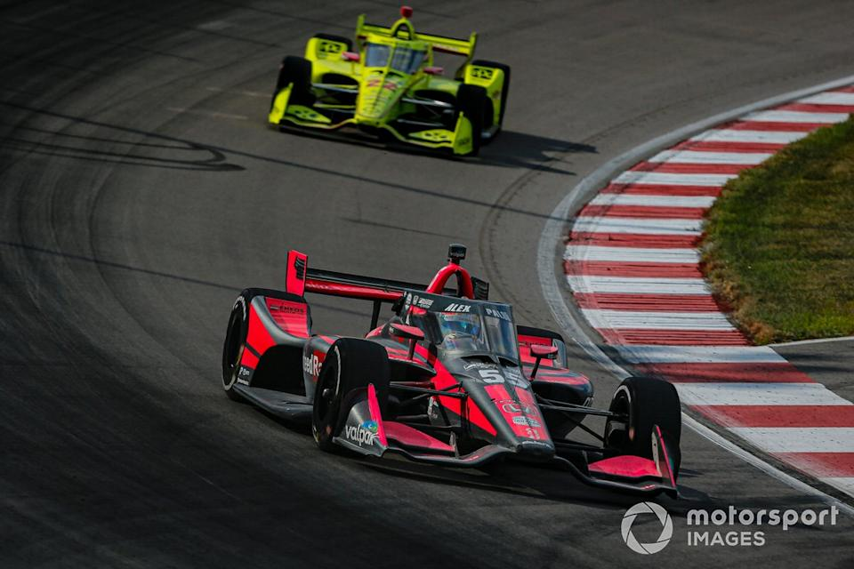 "Alex Palou, Dale Coyne Racing with Team Goh Honda, Simon Pagenaud, Team Penske Chevrolet<span class=""copyright"">Barry Cantrell / Motorsport Images</span>"