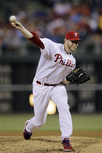 Philadelphia Phillies' Roy Halladay pitches during the third inning of a baseball game against the St. Louis Cardinals, Friday, April 19, 2013, in Philadelphia. (AP Photo/Matt Slocum)